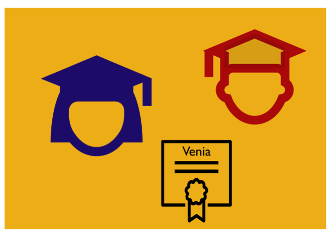 Graphic with two graduated icons and one certificate icon